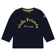 Camiseta de punto de manga larga con forro de punto y estampado
