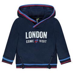 Sudadera con capucha con estampado London y cremalleras
