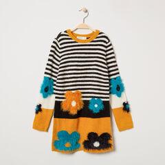 Vestido de manga corta de punto con rayas y flores de jacquard