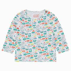 Camiseta de manga larga de punto con estampado de animales all-over