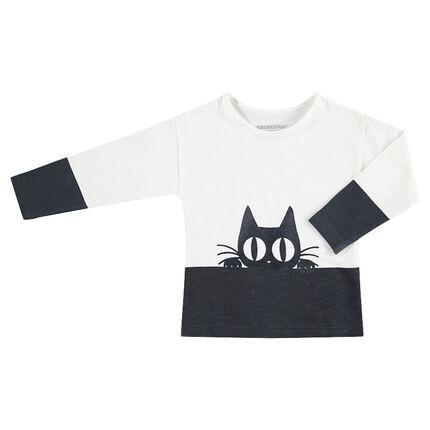 Camiseta de punto de manga larga con estampado de fantasía texturizado