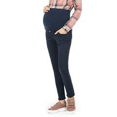 Pantalón de premamá liso con banda alta y acabado con flecos