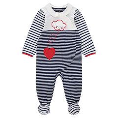 Pijama de punto de rayas con nube bordada y corazón