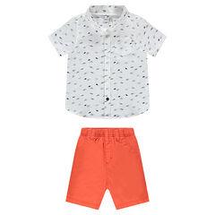 Conjunto de camisa estampada y bermudas coral
