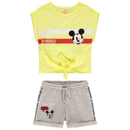 Conjunto con camiseta de manga corta que se anuda y pantalón corto con estampado de Mickey Disney