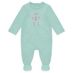 Pijama de punto con estampado de unicornio por delante