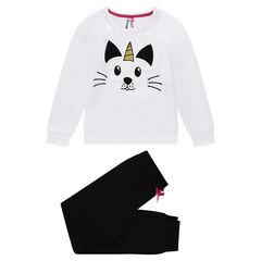 Júnior - Pijama de muletón y punto con estampado de gato unicornio