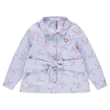 Camisa de manga larga de algodón con pájaros estampados all over