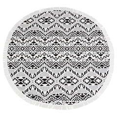 Toalla redonda con estampado étnico con flecos