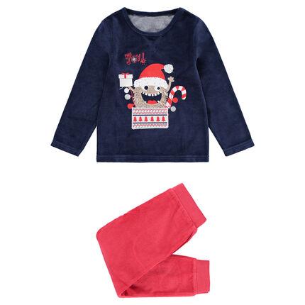 Pijama de terciopelo bicolor con monstruo de navidad estampado