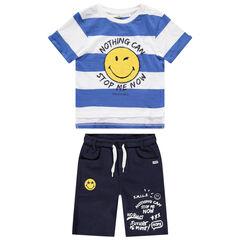 Conjunto con camiseta de rayas Smiley de rizo y bermudas estampadas