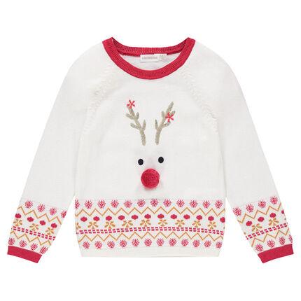 Jersey de punto de Navidad con reno estampado y motivo de jacquard