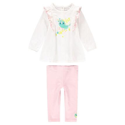 Conjunto con túnica de manga larga estampada y leggings rosas claros