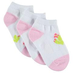 Pack de 3 pares de calcetines cortos con motivo de cactus