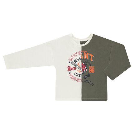 Júnior - Camiseta de manga larga bicolor con dibujos de fantasía