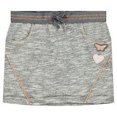 Falda de muletón con cintura elástica y parche de mariposa