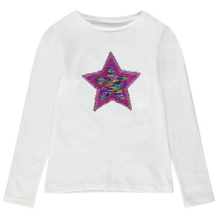 Camiseta de manga larga de punto con dibujos de lentejuelas