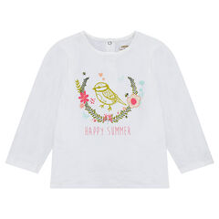 Camiseta de punto de manga larga de punto liso con estampado