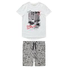 Júnior - Conjunto con camiseta con estampado de skateboard y bermudas estampadas all over