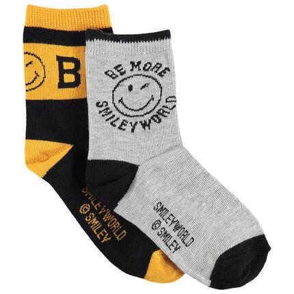 Júnior - Juego de 2 pares de calcetines variados con motivo Smiley