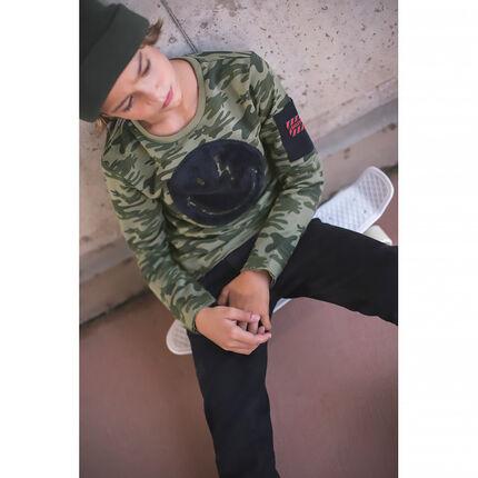 Júnior - Camiseta de manga corta con estampado de camuflaje con bolsillo
