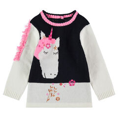 Jersey de punto con unicornio de jacquard y cresta con flecos