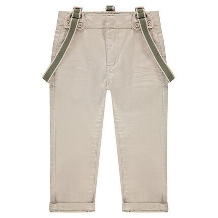 Pantalón de satén liso con tirantes desmontables