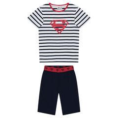 Pijama corto de punto de bermudas lisas y parte de arriba a rayas con estampado de ©Warner Superman