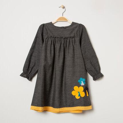 Vestido de manga larga de algodón con bordado de realce y flores bordadas