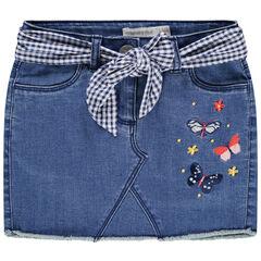 Jupe en jean avec ceinture en vichy à nouer et papillons brodés