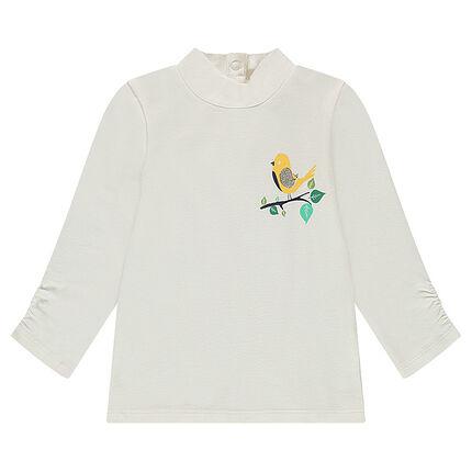 Camiseta con cuello chimenea y estampado de pájaro