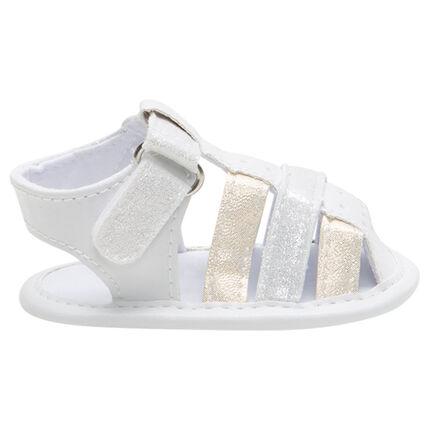Sandalias flexibles con tiras brillantes con tira y velcro