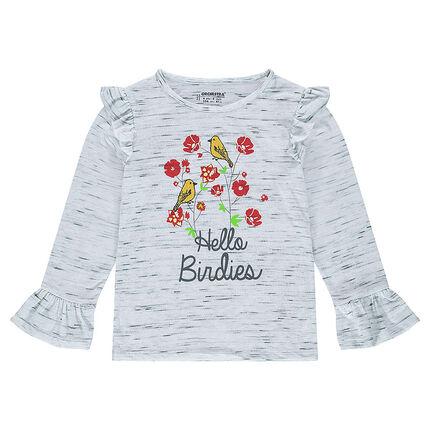 Camiseta de manga corta con estampado floral y volantes