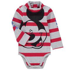 Body de manga larga de punto de rayas con estampado de Mickey