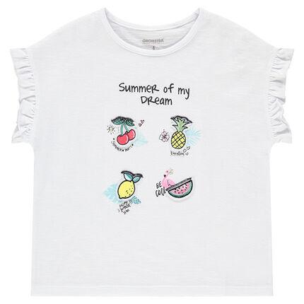 Camiseta de manga corta con frutas estampadas y mangas con volantes