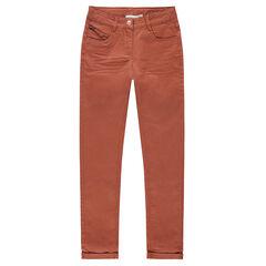 Júnior - Pantalón de algodón teñido con efecto arrugado y bolsillo con cremallera