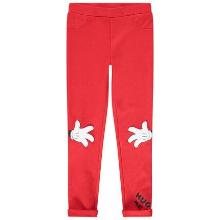 Jegging rojo de punto milano con estampado Minnie Disney