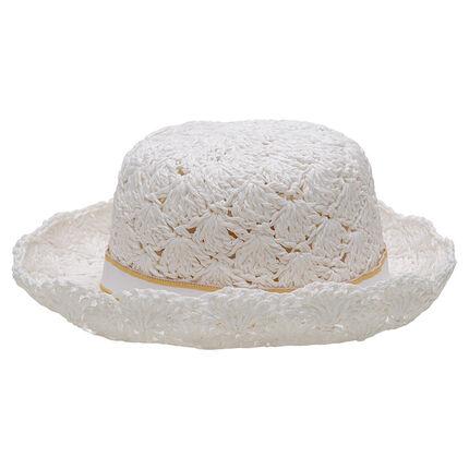 Sombrero de paja con galón y etiqueta con lazo plano
