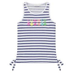 Camiseta de punto slub de rayas con pompones