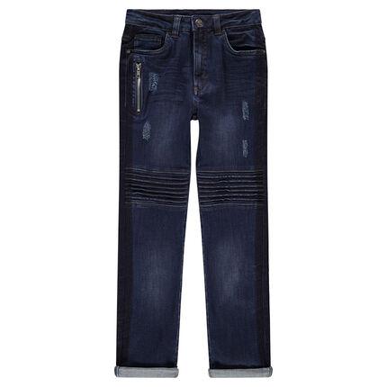 Júnior - Vaqueros con efecto desgastado y arrugado con bolsillo con cremallera y pespuntes