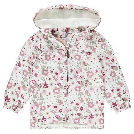 Cortavientos con capucha y estampado de flores all over con forro de borreguillo fino