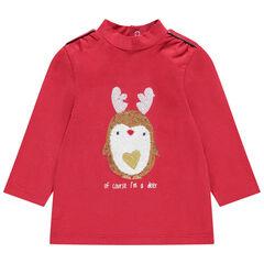 Camiseta interior con cuello subido y cervatillo de lentejuelas y borreguillo