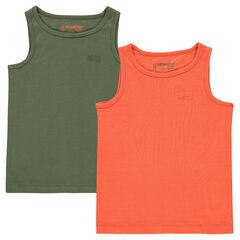 Júnior - Pack de 2 camisetas acanaladas lisas