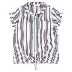Júnior - Camisa de manga corta con rayas verticales y bolsillo