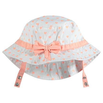Sombrero tipo charlotte con corazones estampados all over y lazo