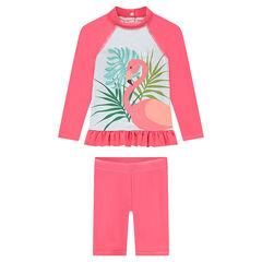 Conjunto de baño anti-UV SPF 50+ con estampado de flamenco rosa