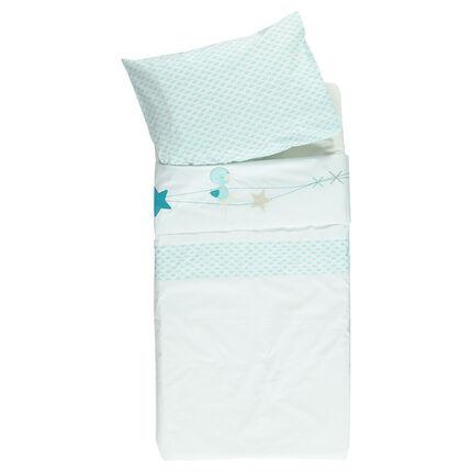 Lote de sábana y funda para almohada bordados de fantasía