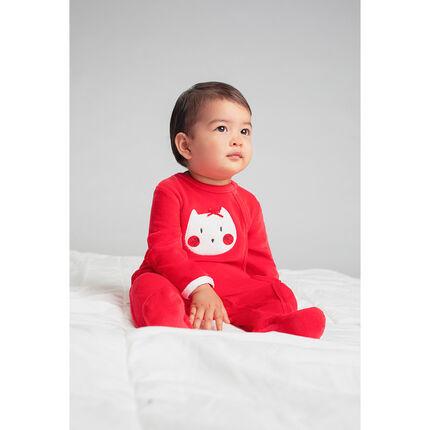 Juego de 2 pijamas de terciopelo liso/con gatos estampados