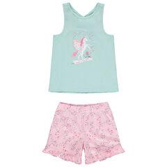 Pyjama court à licorne et fleurs imprimées