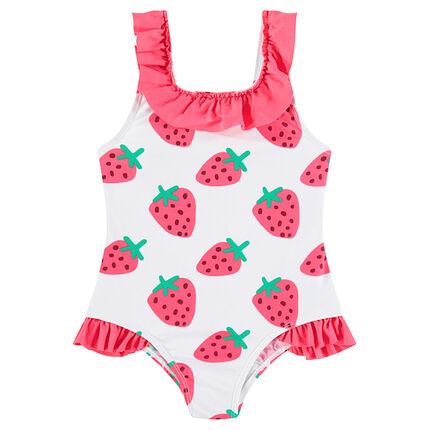Bañador con fresas estampadas y volantes